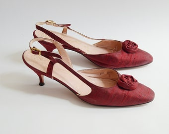 1950s Red Rosette Kitten Heels - US8.5N