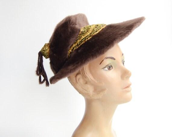 1940s Brown Faux Fur Tilt Hat