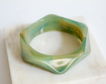 Light Green Marbled Plastic Bangle