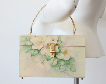 1970s Sonie Ames Rose Painted Box Purse