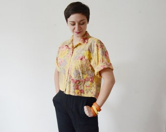1990s Cropped Floral Shirt - S/M