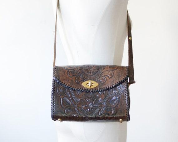 1960s Tooled Leather Shoulder Bag