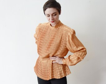 1980s Golden Yellow Pleated Blouse - M/L