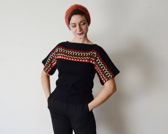 1970s Black Short Sleeve Sweater - S