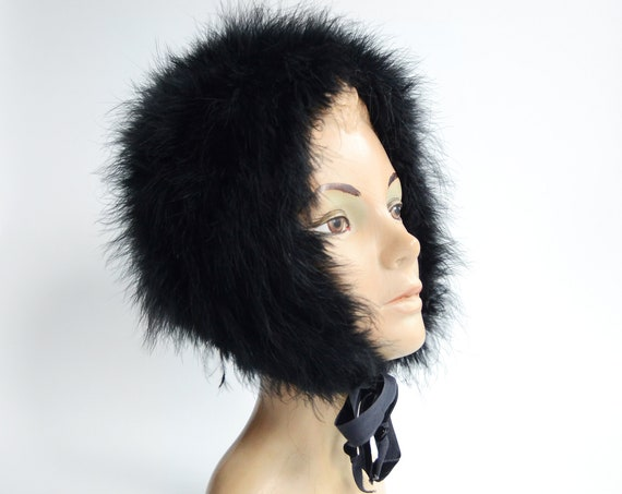1950s Black Ostrich Feather Hood Hat