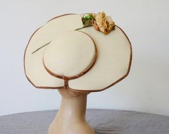 1950s Beige Rose Platter Hat