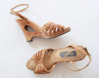1970s Wood and Leather Wedge Sandals