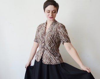 1940s Brown and White Rayon Blouse - S