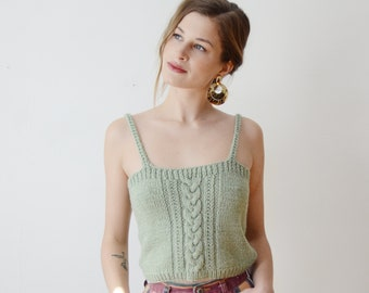 1970s Seafoam Green Knit Camisole / Sweater Vest - S