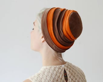 1960s Brown and Orange Velvet Hat