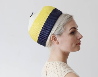 1960s Straw Striped Bubble Hat