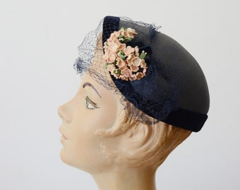 1940s Blue Cap With Flowers
