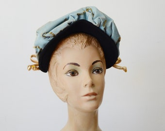 1940s Black and Blue Velvet Hat