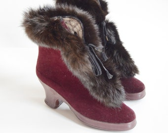 1940s Maroon Gaytees Rabbit Fur Galoshes - 6