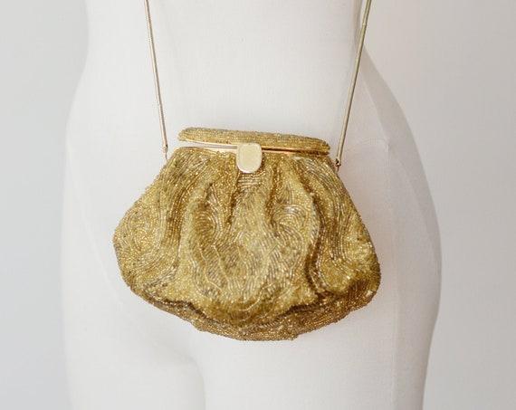1980s/1990s Gold Beaded Evening Bag