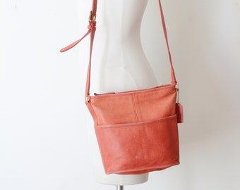 Faded Red Leather Coach Bag