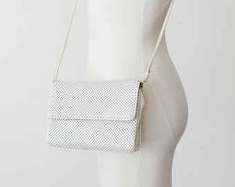 1990s Whiting and Davis White Metal Mesh Purse