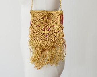 1960s Gold Macrame Purse