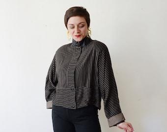 1980s Cropped Black Striped Jacket - L