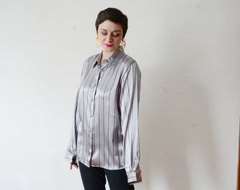 1980s Grey Striped Button Up Blouse - M