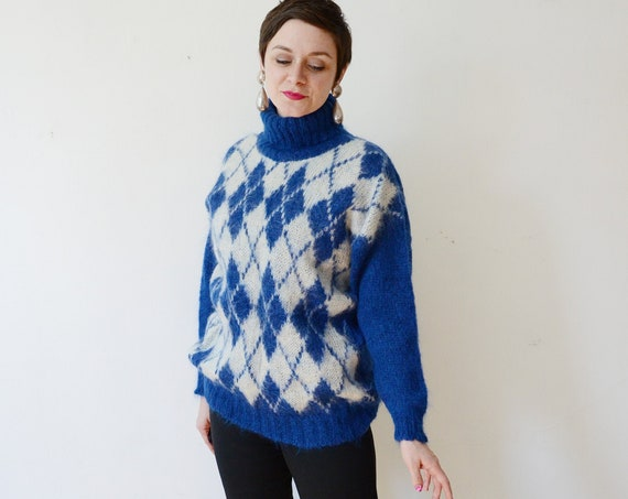 1980s Mohair Blue Argyle Sweater - L/XL