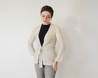 1970s Beige Wrap Sweater