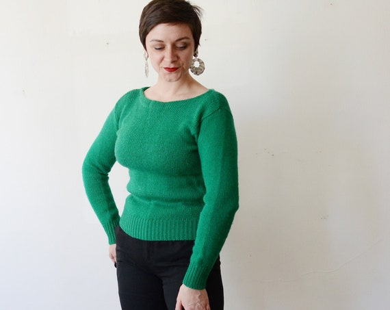 1980s Green Boatneck Wool Sweater - S