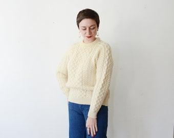 80s Cream Wool Fisherman Sweater - M