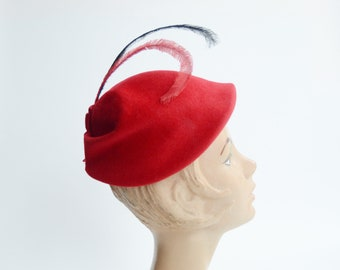 1950s Red Wool Hat with Feathers