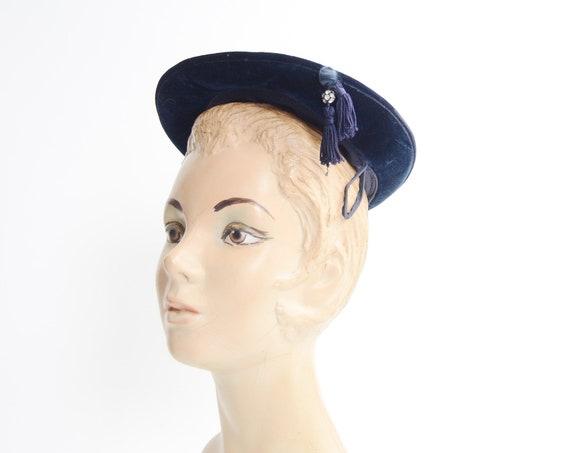 1950s Blue Velvet Hat