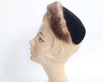 1950s Black Velvet and Mink Hat