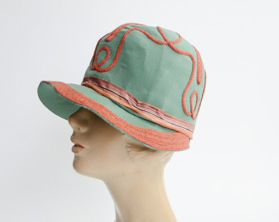 1920s Green Cloche Hat