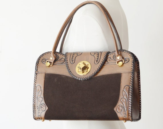 1960s Large Tooled Leather and Suede Bag
