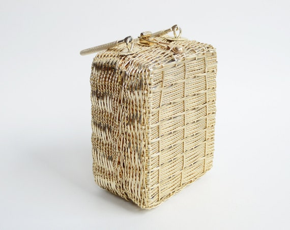 1960s Gold Basket Purse