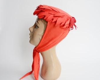 1960s Cutout Red Leaf Pillbox Hat