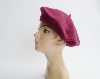 Vintage Maroon Wool Beret