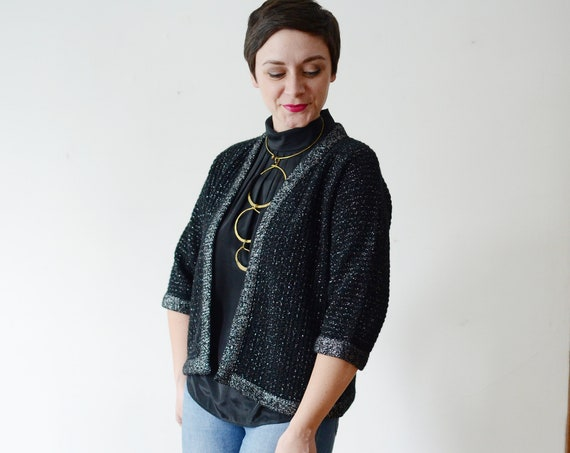 1960s Black and Silver Cardigan - M