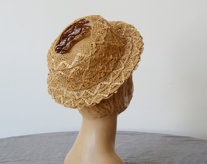 1940s New York Creation Open Top Straw Hat