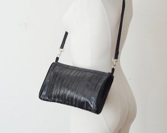 1980s Black Eel Skin Leather Purse