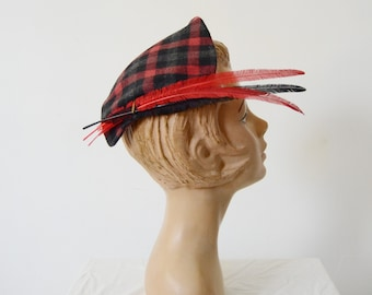 1950s Plaid Cap with Feathers