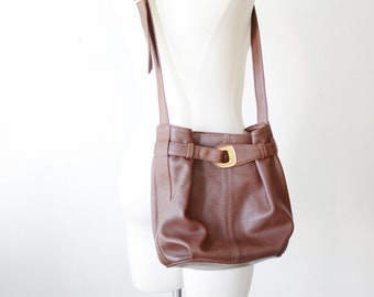 1980s Slouchy Brown Leather Bag
