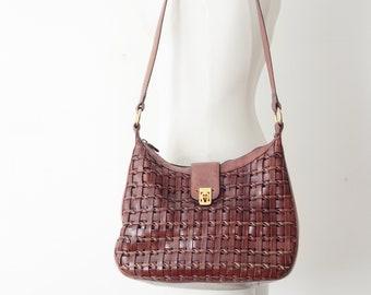 80s Etienne Aigner Burgundy Leather Shoulder bag