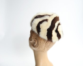50s/60s Striped Fur Hat