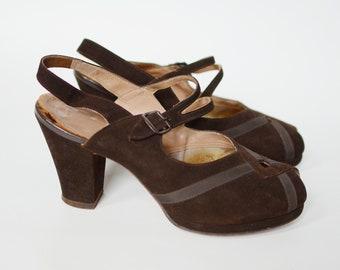 1940s Brown Suede Slingback Heels - 7