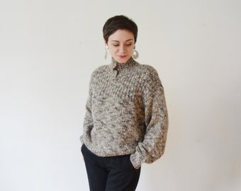 1980s Chunky Grey Knit Sweater - S/M/L