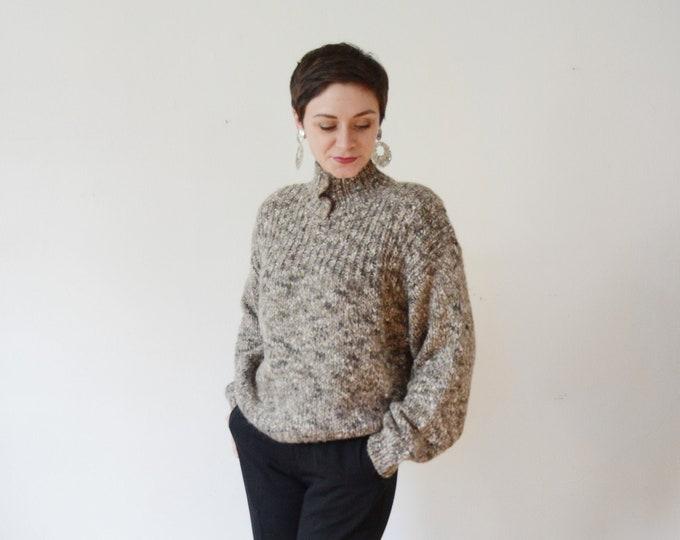 1980s Chunky Grey Knit Sweater - S/M/L