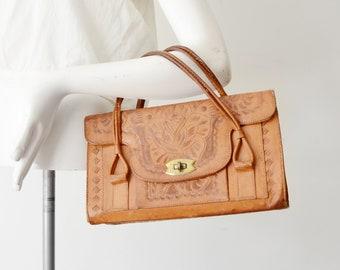 1950s Tooled Leather Handbag