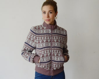 Reversible 1980s Purple Sweater Coat - S