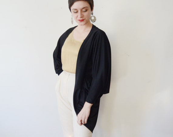 1970s Polyester Black Disco Jacket - M
