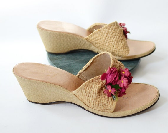 60s Kinney Woven Wedge Sandals - 8.5